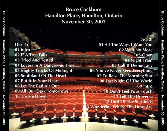 Bruce Cockburn w/band - Hamilton Place, ON - 30 November 2003